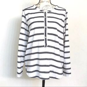 "Loft ""The Softened Shirt"" Striped Henley Top"